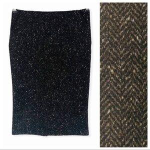 SISLEY Black Wool Chevron Wiggle Pencil Skirt